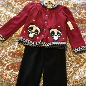 Fleece outfit with panda detail
